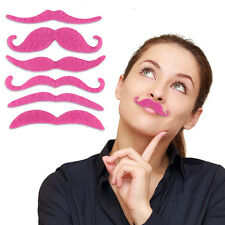 SG Set of 7 Stylish Costume Party Fake Mustache Moustache HOT Pink Girl Cosplay