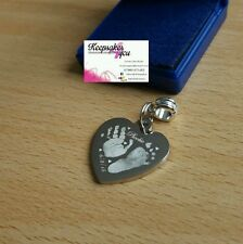 Engraved Finger /Hand/Foot Print Stainless Steel Heart Charm & Round Attachment.