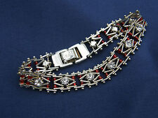 NICE link chain 18k White Gold plated Bracelet with clear white set stones.