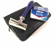 Blue Men Safety Razor Double Edge Razors 10 Free Blades & Pouch travel kit Set