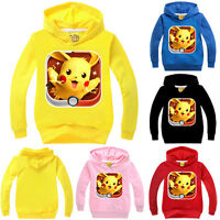 Kids Girls Boys Pokemon Pikachu Hoodies Pullover Sweatshirts Sweater Tops Coats