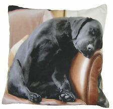 EVANS LICHFIELD SLEEPING BLACK LABRADOR PUPPY DOG MADE IN UK CUSHION 43CM - 17""