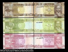 South SUDAN 5 10 25 PIASTERS ANIMAL 2011 UNISSUED ERROR UNC CURRENCY MONEY NOTES