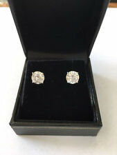 Stud Earrings 6.5mm each (2 CT TW) Round Moissanite 14k white gold