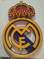 Real Madrid Football Club Logo in Wood Crafted in a 3-Dimensional Relief Style