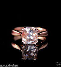 2.0 Carat Portuguese Cut Cushion Morganite Solitaire Ring in 14k Rose Gold