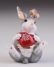 Rabbit Faberge trinket box hand made by Keren Kopal with Austrian crystals