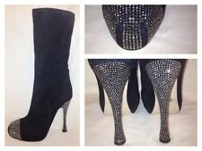 PAOLO CONTE RUSSIAN RUNWAY BLACK KNEE HIGH BOOTS RHINESTONE  HEEL & TOE  SZ US