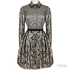 Victoria Victoria Beckham Black Gold Silver Bell Jaquard Shirt Dress UK8 IT40