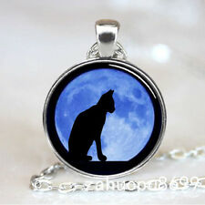 Vintage Black cat Cabochon Silver plated Glass Chain Pendant Necklace #06dy!