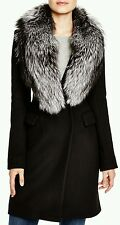 $1398 DIANE VON FURSTENBERG BLACK WOOL BASIC COAT OUTERWEAR WOMEN SZ 8