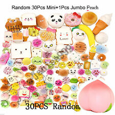 Lot 1Pcs Jumbo Peach+30Pcs Jumbo Medium Mini Random Squishy Soft Phone Straps