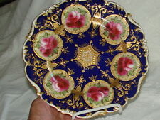 ANTIQUE CAULDON ENGLAND CABINET PLATE. COBALT BLUE ROSES AND GOLD SIGNED..
