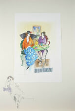 """Two at Tea in Tel Aviv"" By Itzchak Tarkay Signed Original Watercolor & Pencil"