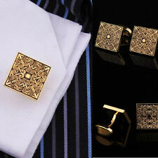 Men's Gold Square Antique Cuff Links Wedding Party Suit Cufflinks Sleeve Button