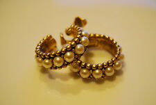 VINTAGE YSL YVES ST LAURENT COUTURE GOLD TONE METAL AND FAUX PEARL CLIP EARRINGS