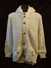 PRIMO EMPORIO Mens Cream Wool Blend Hooded Zip Cardigan XL