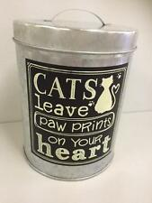 CAT Food Container Biscuits Treat Tin - chalkboard style metal Zinc