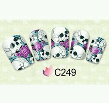 Skull Nail Wraps (water decals)  Opaque Skeleton nail decals 10 per sheet