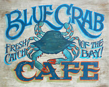 Blue Crab  Cafe Print art decor print vintage  style  chesapeake bay carolina