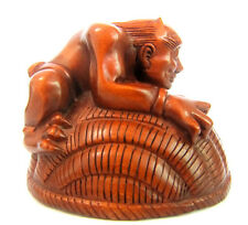 Y3302 --- 4.6*5.5 *4.6Cm Hand carved Boxwood Carving Netsuke: 2 Oni Monsters