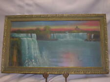 """Vintage Water Falls Oil Painting Ornate Frame 16 1/2 X 9 1/2"""" Colorful Antique"""