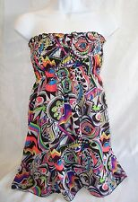 RUE21 Reversible Halter Top,Strapless Stretchy Mini Dress,Neon Colorful,Black,S