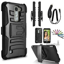 For LG K7 Tribute 5 Hybrid Rugged Holster Case Cover Stand Belt Clip +Gift