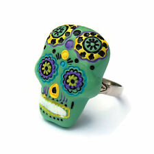 Green Sugar Skull Adjustable Ring, Rockabilly, Tattoo, Day of the Dead Statement