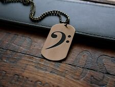 Hand Made Etched Bronze Dog Tag Pendant - Bass Clef