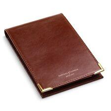 Aspinal of London Pocket Memo Pad Smooth Cognac & Stone Suede