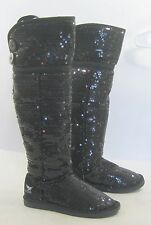 new Blacks  sequin flat  long  sexy  over the knee boots Size    5.5