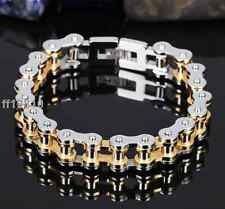 "8.66""X13mm Men's Silver Gold Stainless Steel Motorcycle Biker Chain Bracelets"