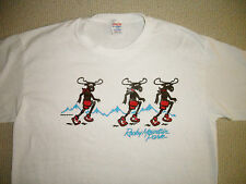 Vtg JERZEES by RUSSELL 80s Rocky Mountain Moose Bullwinkle Thin 50/50 T Shirt L