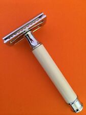 New Vintage White Handel Safety Razor +double edge shaving blades shaver