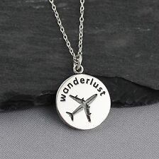 Wanderlust Airplane Charm Necklace - 925 Sterling Silver - Plane Travel Fly NEW
