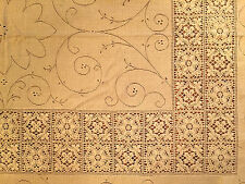 Vint Hand Crochet Lace Ecru/Golden Tan Tablecloth Rectangle 76x62 Flower Scrolls