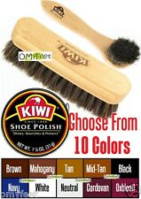 kiwi Shoe Wax Can Polish Shine Horse-Hair Brush and Applicator Kit Set