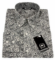 Relco Mens White Navy Paisley Long Sleeved Button Down Vintage Shirt Mod Retro