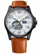 TOMMY HILFIGER AUTOMATIC WHITE DIAL BROWN LEATHER STRAP MEN'S WATCH 1790906 NEW