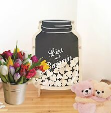 Mason Jar wooden Frame Wedding Baptism baby shower Guest Book Wooden dropbox