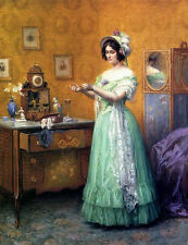 Large Oil painting Schuster Karl Maria The New Gloves noble lady in her toilette