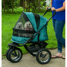Pet Gear NO-ZIP DOUBLE 2 DOG CAT PET STROLLER w/ Bolster Pad Weather Cover Green