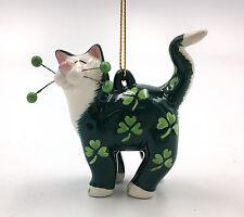 56554 SHAMROCK Irish St.Patrick's Day Cat Whimsiclay Amy Lacombe Mini Ornament