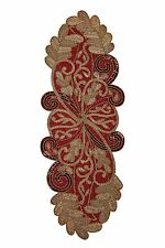 Cotton Craft - Scrolling Leaves Hand Beaded Table Runner - Burgundy-Gold - 13...