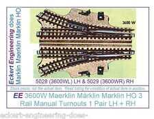 EE 3600W LN (LikeNew) Maerklin Märklin Marklin HO 3R 3 Rail Pair Manual Turnouts