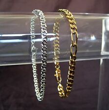 2 Gold Silver Tone Link Chain Bracelets Monet Figaro Curb Link Chain 7.25 inches