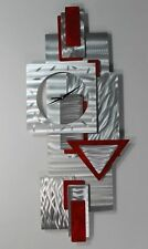 Red, Silver Modern Metal Wall Clock Art Sculpture - Scarlet Times by Jon Allen