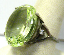 STERLING SILVER LIGHT GREEN STONE CLEAR STONE RING HUGE STONE SIZE 10.75