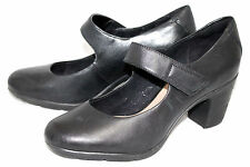 CLARKS ARTISAN Lucette Lady Wo's 9M Black Leather Mary Jane Heeled Pumps